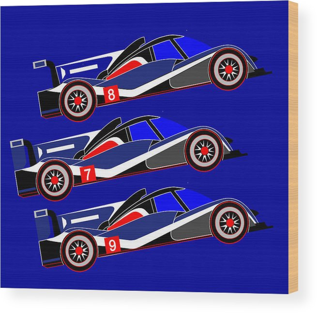 Peugeot Wood Print featuring the digital art To Peugeot 908s Le Mans 2011 was Uphill by Asbjorn Lonvig