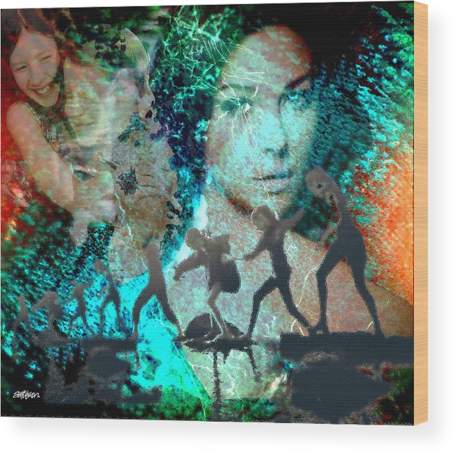Childhood Wood Print featuring the digital art And that Reminds Me by Seth Weaver