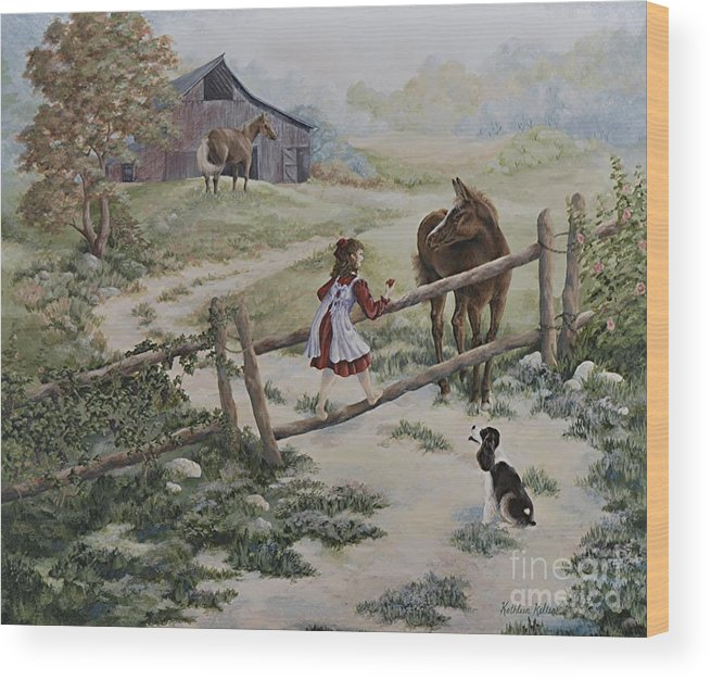 Farm Wood Print featuring the painting At the Farm by Kathleen Keller