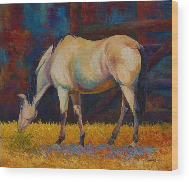 Horses Wood Print featuring the painting Buckskin by Marion Rose