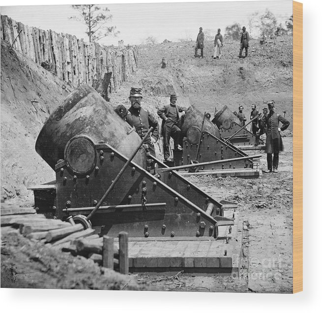 1862 Wood Print featuring the photograph Civil War: Union Mortars by Granger
