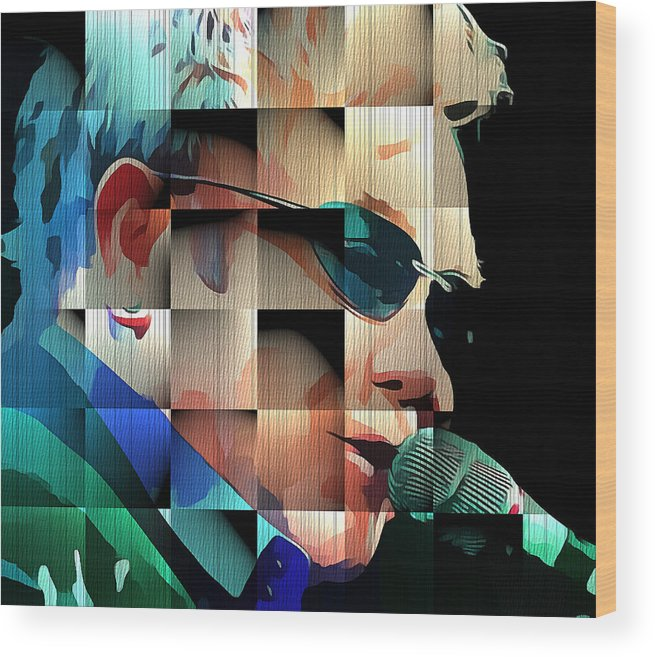 Elton Wood Print featuring the digital art Elton John in Cubes 1 by Yury Malkov