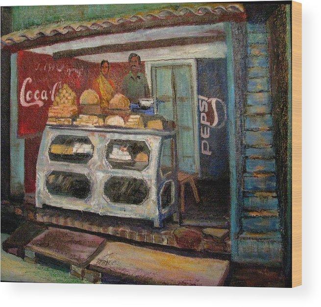 Gajak Wood Print featuring the painting Gajak Sweet Shop Orchha by Art Nomad Sandra Hansen