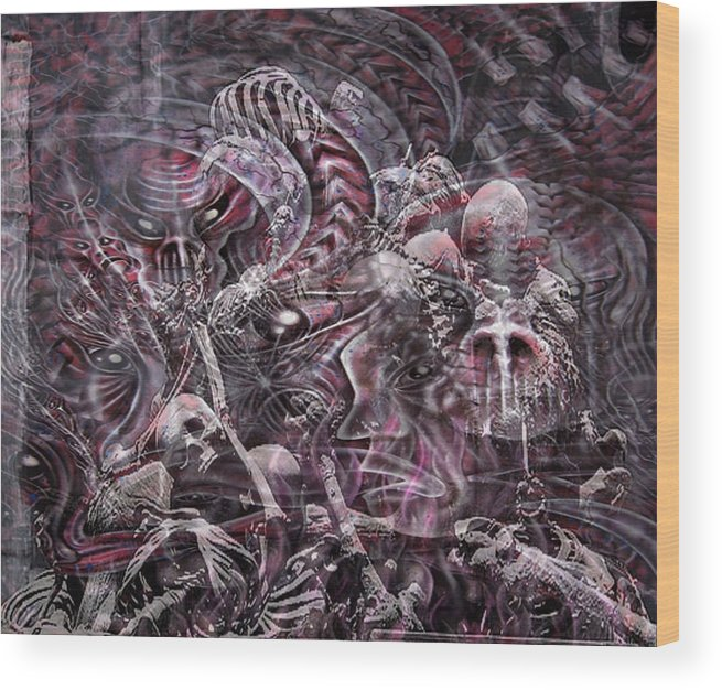 Hell Wood Print featuring the mixed media Hell Burial by Leigh Odom