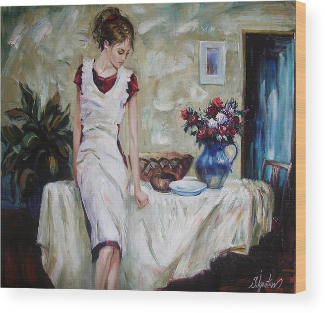 Figurative Wood Print featuring the painting Just the next day by Sergey Ignatenko