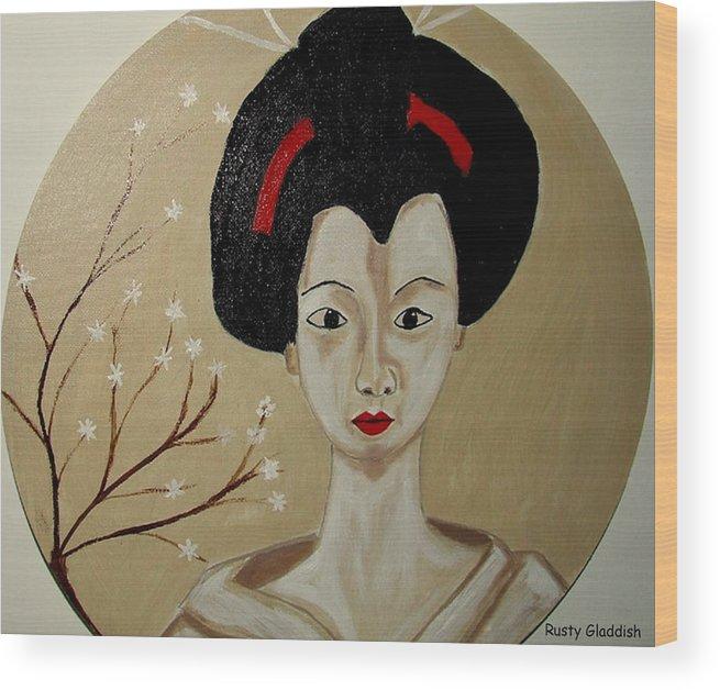 Japanese Wood Print featuring the painting Kabuki Girl by Rusty Gladdish