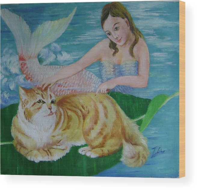 Fantasy Wood Print featuring the painting Mermaid And Cat by Lian Zhen