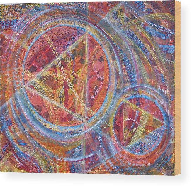Geometric Wood Print featuring the painting Microcosm XVI by Rollin Kocsis