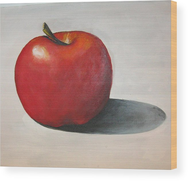 Apple Wood Print featuring the painting One Red Apple by Eileen Kasprick