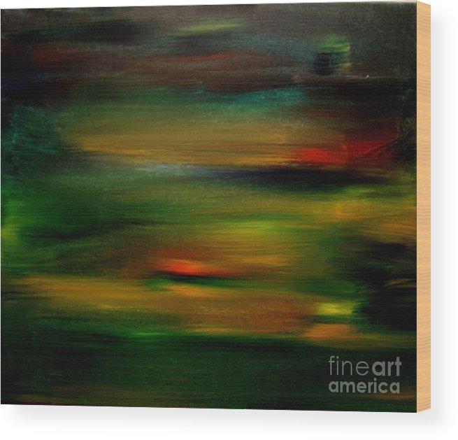 Sunset Wood Print featuring the painting Peninsula Sunset 2 by Karen L Christophersen