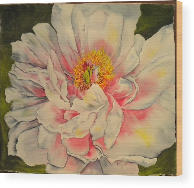 Floral Wood Print featuring the painting Peony by Diane Ziemski