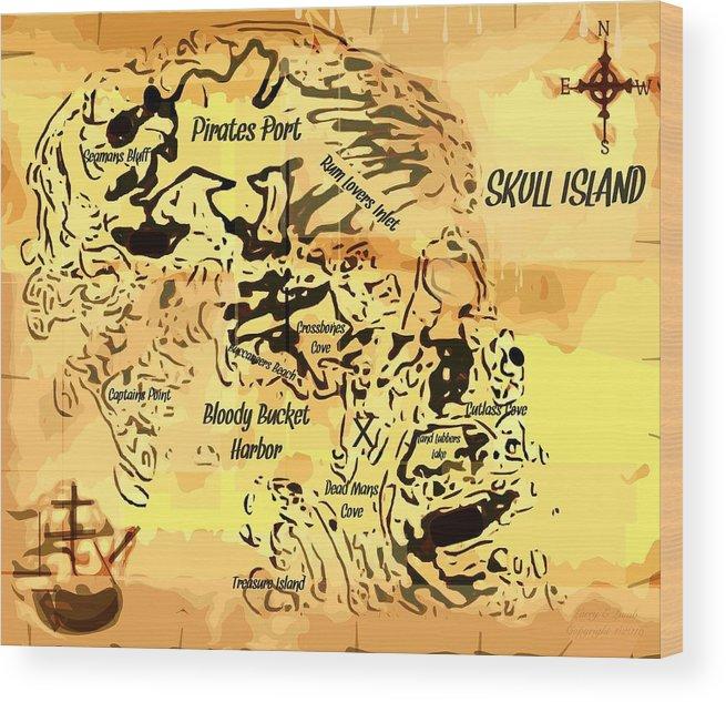 Pirate Treasure Map Skull Island Wood Print By Larry Lamb