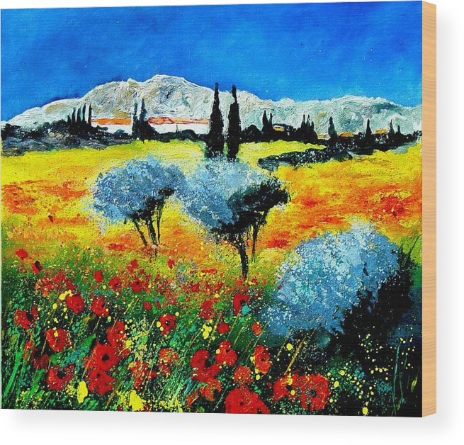 Poppies Wood Print featuring the painting Provence by Pol Ledent