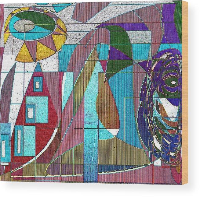 Purple Wood Print featuring the digital art Purple and Blue by Ian MacDonald