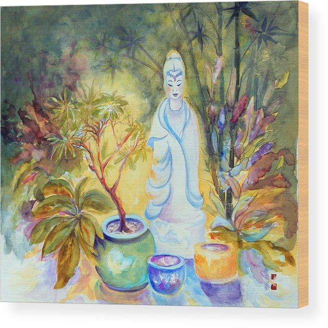 Gardens Wood Print featuring the painting Quan Yin Garden by Caroline Patrick
