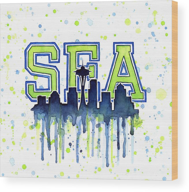 Watercolor Wood Print featuring the painting Seattle Watercolor 12th Man Art Painting Space Needle Go Seahawks by Olga Shvartsur