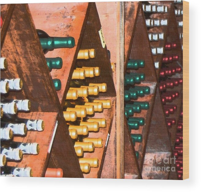 Wine Wood Print featuring the photograph Sideways by Debbi Granruth