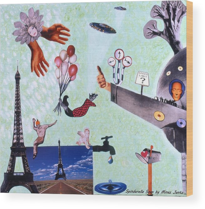 Eiffel Tower Wood Print featuring the drawing Soap Scene #27 Zelestial Headquarters by Minaz Jantz