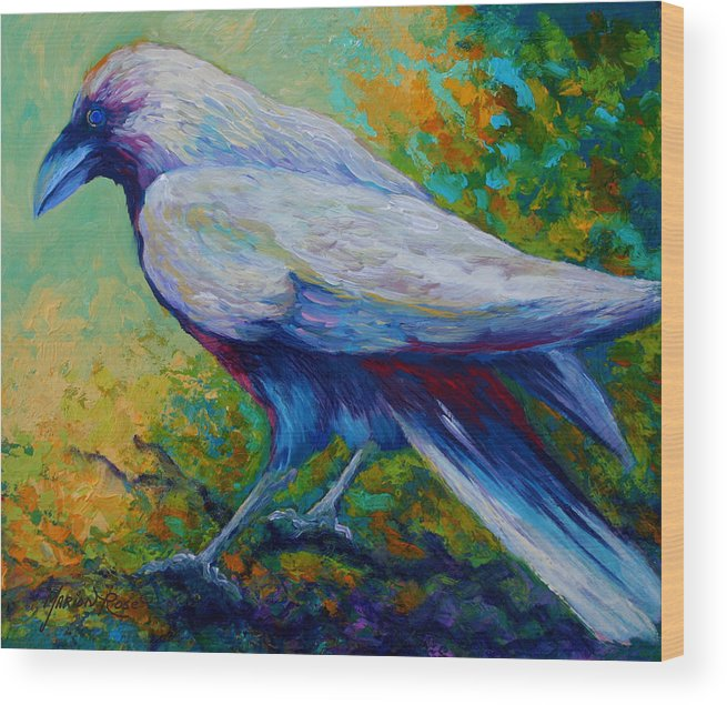 Crows Wood Print featuring the painting Spirit Raven by Marion Rose
