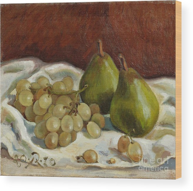 Still Life Wood Print featuring the painting Still Life with French Grapes by Raimonda Jatkeviciute-Kasparaviciene