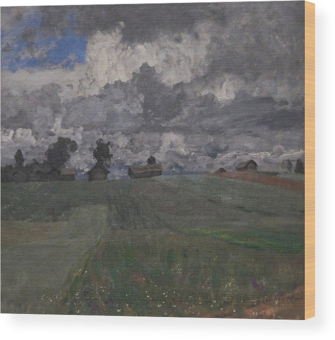 Isaac Levitan Wood Print featuring the painting Stormy Day by Isaac Levitan