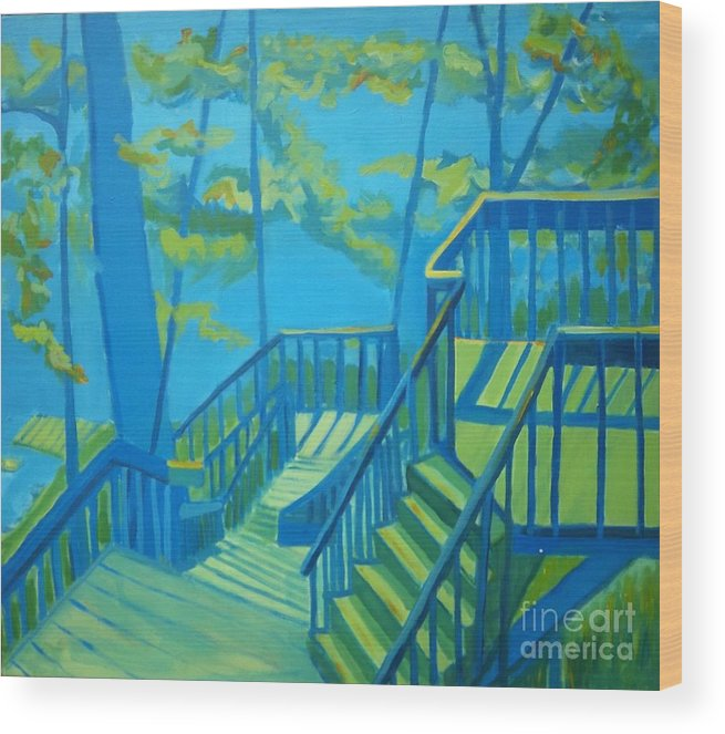 New Hampshire Wood Print featuring the painting Suncook Stairwell by Debra Bretton Robinson