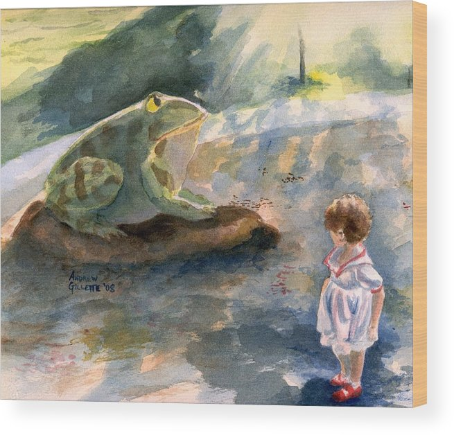 Child Wood Print featuring the painting The Magical Giant Frog by Andrew Gillette