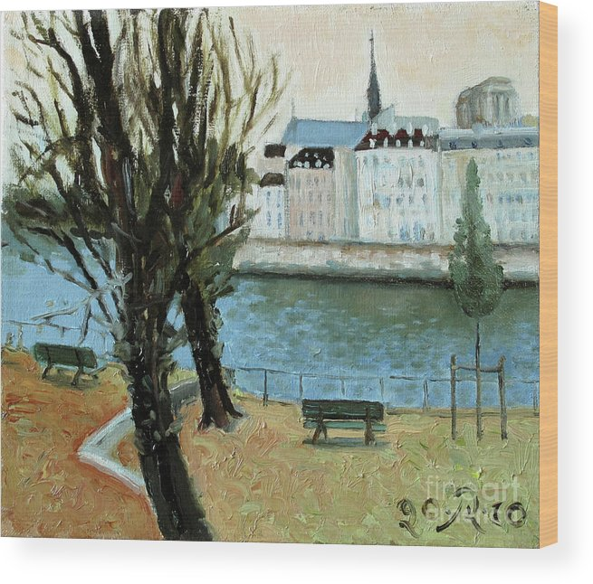 Landscape Wood Print featuring the painting Trees by the River by Raimonda Jatkeviciute-Kasparaviciene