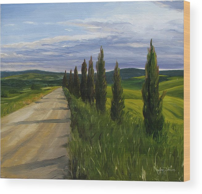 Wood Print featuring the painting Tuscany Road by Jay Johnson