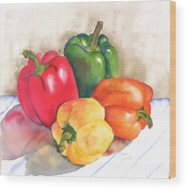 Food Wood Print featuring the painting Two Peppers by Diane Ziemski