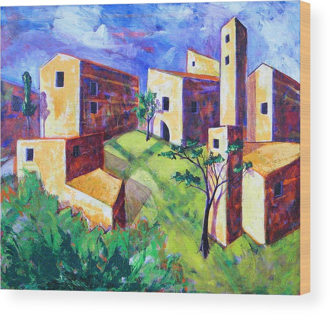 Landscape Wood Print featuring the painting Villa by Rollin Kocsis