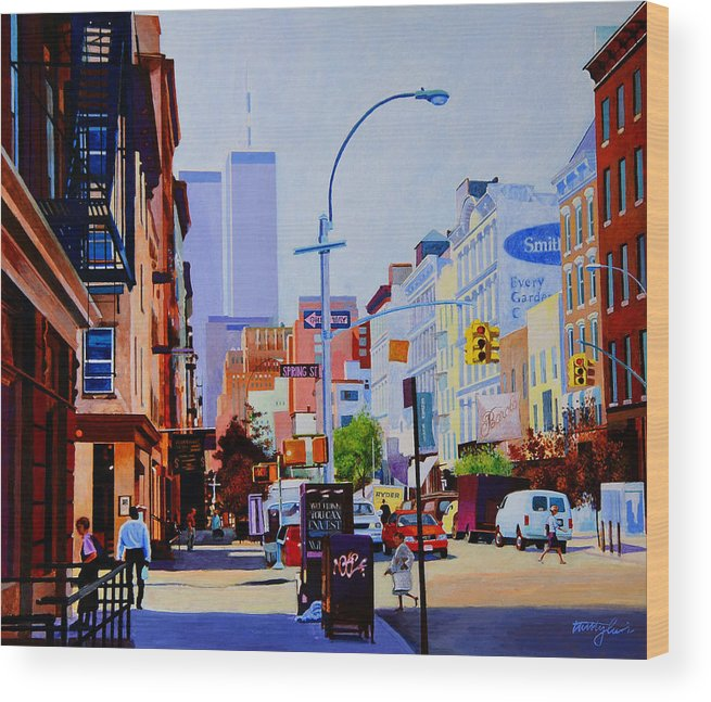 Spring Street Wood Print featuring the painting West Broadway by John Tartaglione