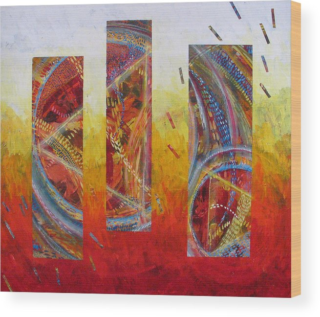 Abstract Wood Print featuring the painting White Hot by Rollin Kocsis