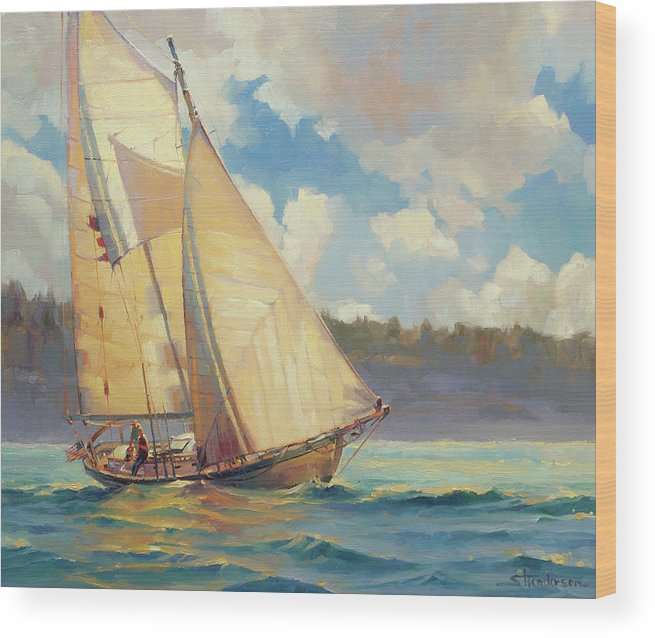 Sailboat Wood Print featuring the painting Zephyr by Steve Henderson