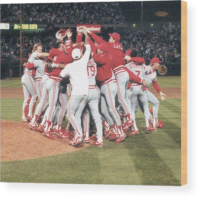 Oakland Wood Print featuring the photograph 1990 World Series - Game 4 Cincinnati by Cincinnati Reds