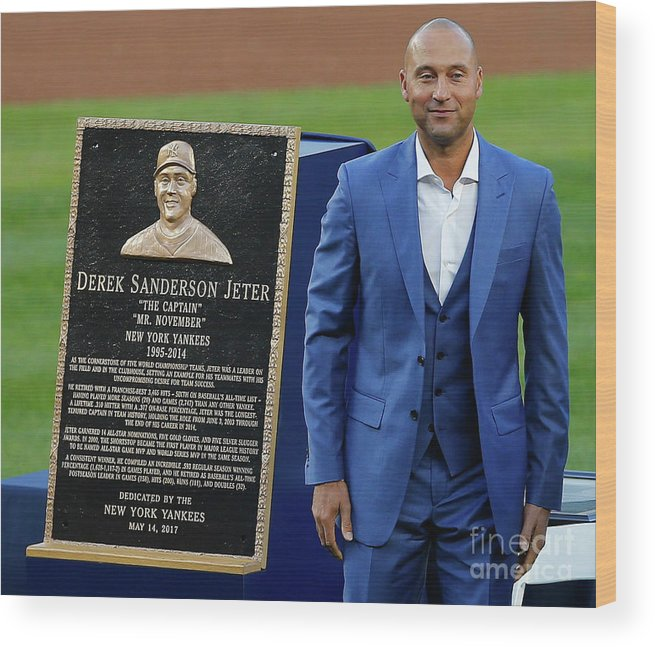 Three Quarter Length Wood Print featuring the photograph Derek Jeter Ceremony by Rich Schultz