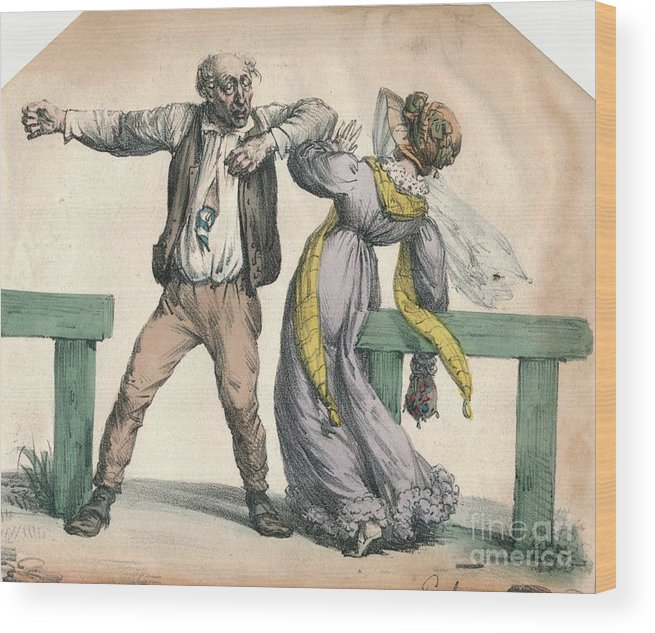 Engraving Wood Print featuring the drawing Man Attacking A Woman by Print Collector
