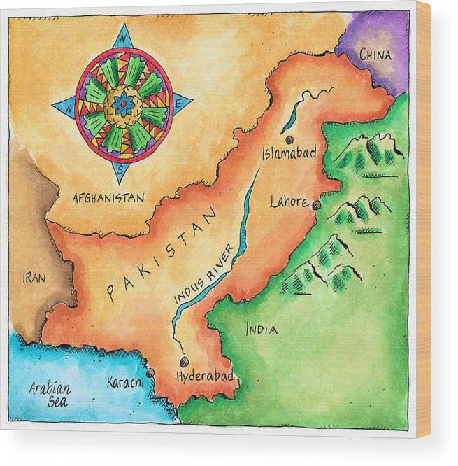 Hyderabad Wood Print featuring the digital art Map Of Pakistan by Jennifer Thermes