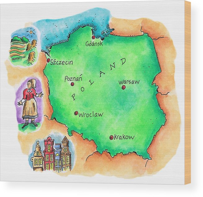 Farm Worker Wood Print featuring the digital art Map Of Poland by Jennifer Thermes