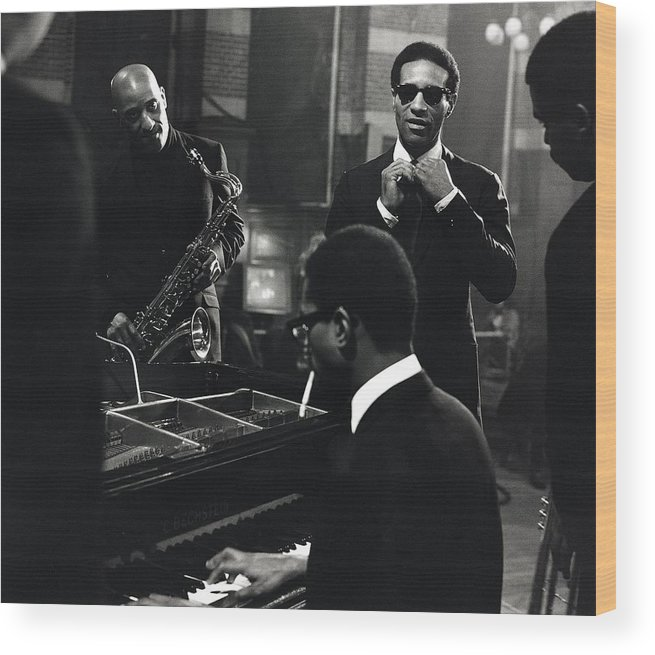 Music Wood Print featuring the photograph Photo Of Max Roach And Sonny Rollins by David Redfern