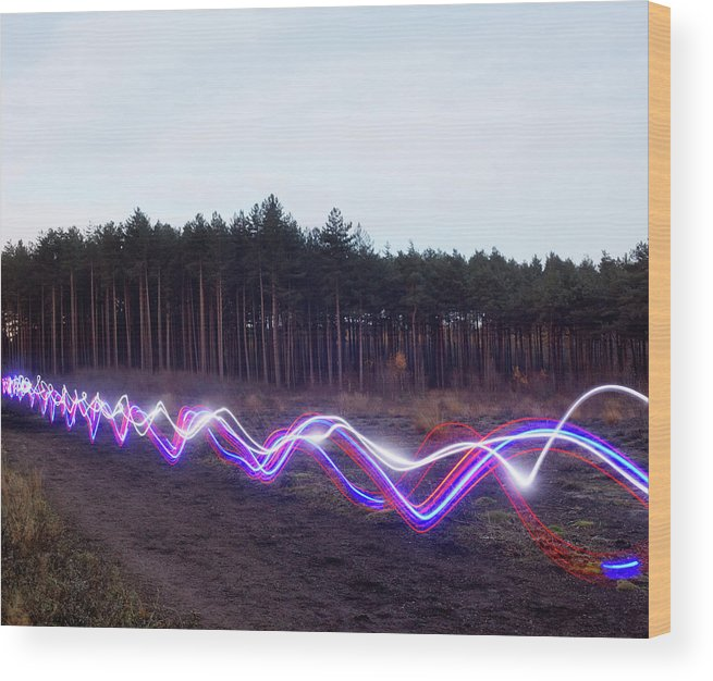 Internet Wood Print featuring the photograph Red, Blue And White Light Trails On by Tim Robberts