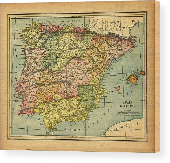 Weathered Wood Print featuring the photograph Spain & Portugal Vintage Map by Belterz