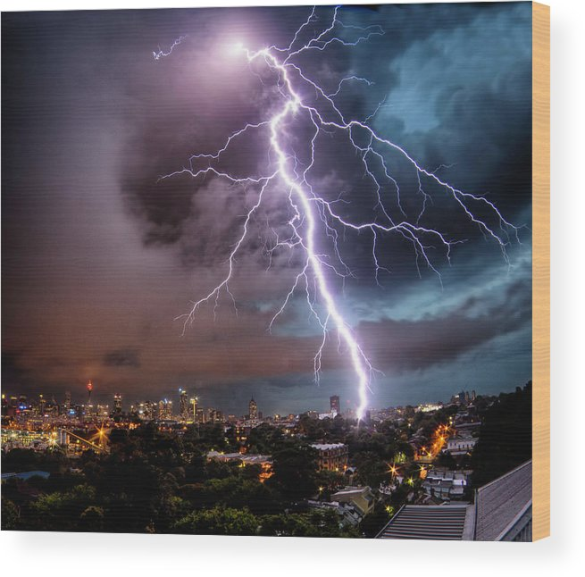 Tranquility Wood Print featuring the photograph Sydney Summer Lightning Strike by Australian Land, City, People Scape Photographer