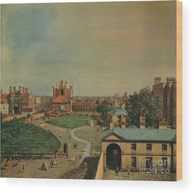 Oil Painting Wood Print featuring the drawing Whitehall From Richmond House by Print Collector