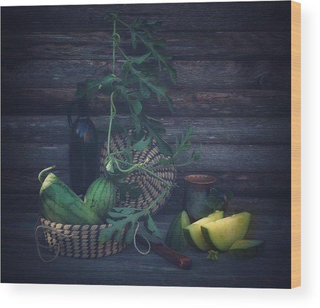 Watermelon Wood Print featuring the photograph Yellow Watermelon by Fangping Zhou