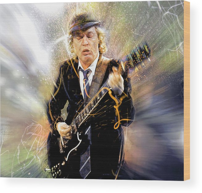 Angus Young Wood Print featuring the digital art You've been thunderstruck by Mal Bray
