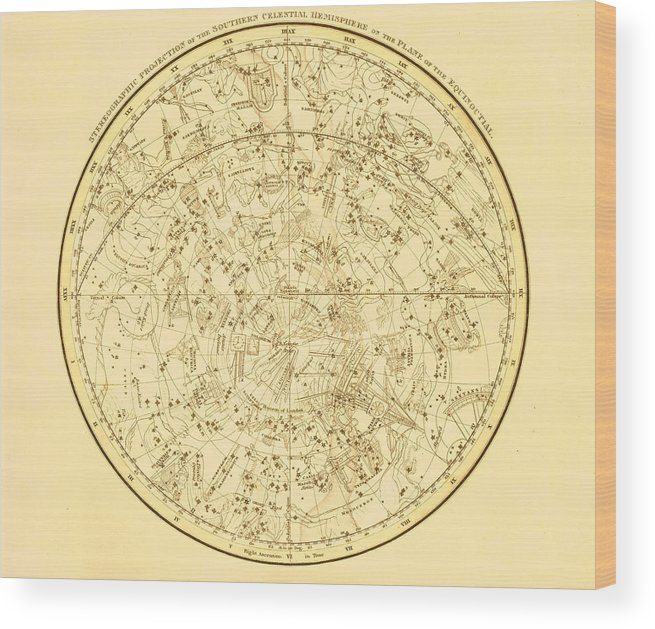 Engraving Wood Print featuring the digital art Zodiac Map by Nicoolay