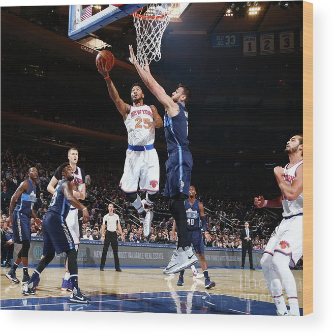 Nba Pro Basketball Wood Print featuring the photograph Derrick Rose by Nathaniel S. Butler