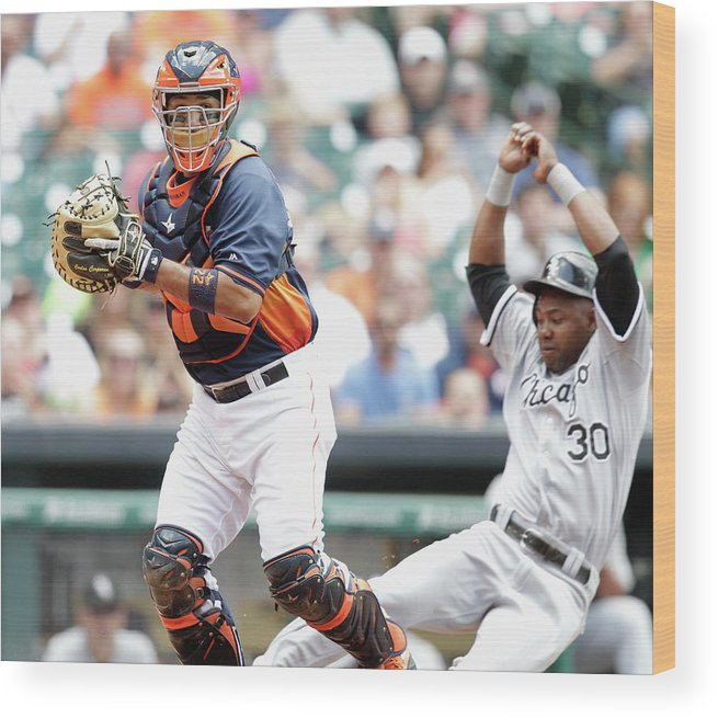 Double Play Wood Print featuring the photograph Alejandro De Aza and Carlos Corporan by Bob Levey