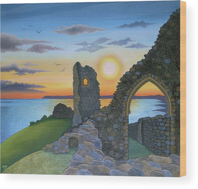 Sunset Wood Print featuring the painting Autumn Sunset Over Hastings Castle by Jennifer Baird
